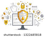 shield over computer monitor... | Shutterstock .eps vector #1322685818