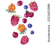 background with falling berries ... | Shutterstock .eps vector #1322692088