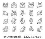 owl line icon set. included... | Shutterstock .eps vector #1322727698
