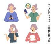 women using gadgets  ... | Shutterstock .eps vector #1322754248