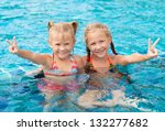 two happy little girls  in the... | Shutterstock . vector #132277682