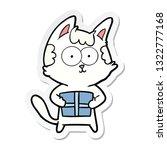 sticker of a happy cartoon cat...   Shutterstock .eps vector #1322777168