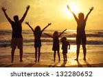 happy family standing on the... | Shutterstock . vector #132280652