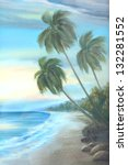 Beach   Oil Color Painting