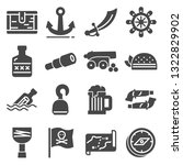 pirates icons set sabre  hook   ... | Shutterstock .eps vector #1322829902