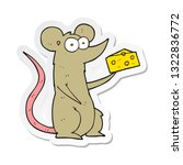 sticker of a cartoon mouse with ... | Shutterstock .eps vector #1322836772