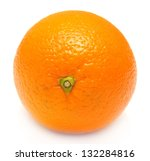 A Ripe Orange On A White...