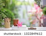 brown tea cup with flower and... | Shutterstock . vector #1322849612