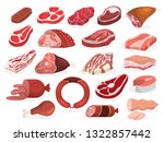 meat set. collection of beef... | Shutterstock .eps vector #1322857442