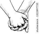 hand sketch holding hands | Shutterstock .eps vector #1322897735