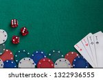 poker chips dice four aces on a ... | Shutterstock . vector #1322936555