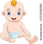 cute cartoon baby sitting and...   Shutterstock . vector #1322936585