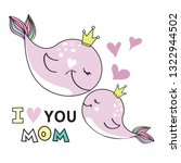 cute pink whales mom and baby...   Shutterstock .eps vector #1322944502