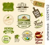 set of fresh organic labels and ... | Shutterstock .eps vector #132295712