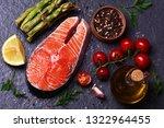 salmon steak with lemon... | Shutterstock . vector #1322964455