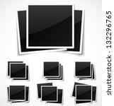 square empty photo frames on... | Shutterstock .eps vector #132296765