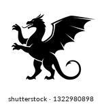 standing dragon silhouette... | Shutterstock .eps vector #1322980898