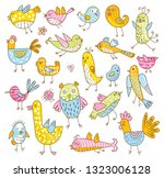set of cute cartoon birds... | Shutterstock .eps vector #1323006128