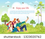 happy family in the park taking ... | Shutterstock .eps vector #1323020762