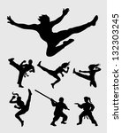 martial silhouettes set. smooth ... | Shutterstock .eps vector #132303245