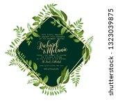 greenery wedding invitation...   Shutterstock .eps vector #1323039875