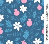 hand drawn floral seamless... | Shutterstock .eps vector #1323047588