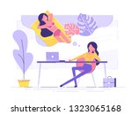 business woman is relaxing and... | Shutterstock .eps vector #1323065168