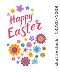 happy easter greeting card with ... | Shutterstock .eps vector #1323075008
