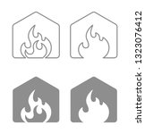 house flame logo icon | Shutterstock .eps vector #1323076412