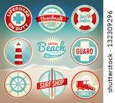 Vintage Set Of Beach Labels An...