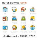 simple set hotel services line... | Shutterstock .eps vector #1323113762