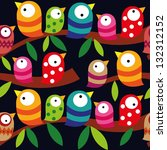 Stock vector beautiful collection of colorful birds isolated on dark background seamless pattern repeatable 132312152