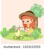 cute girl  pick up chicken's...   Shutterstock .eps vector #1323122552