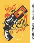 modern t shirt graphic with gun ... | Shutterstock .eps vector #1323130688