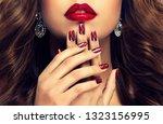 beautiful girl  long   thick... | Shutterstock . vector #1323156995
