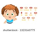 curly red headed boy shows to... | Shutterstock .eps vector #1323163775