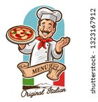 chef italian pizza | Shutterstock .eps vector #1323167912