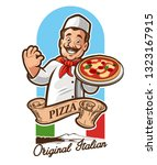 chef italian pizza | Shutterstock .eps vector #1323167915