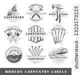 set of modern carpentry labels. ... | Shutterstock .eps vector #1323173225