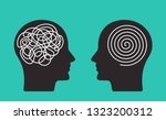 two heads of a person with the... | Shutterstock .eps vector #1323200312