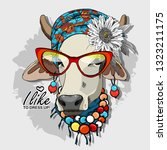 vector cow with turban  flower  ... | Shutterstock .eps vector #1323211175