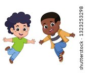 set of kids jumping in the air... | Shutterstock .eps vector #1323253298