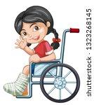 injured girl on wheel chair...   Shutterstock .eps vector #1323268145