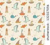 marine seamless pattern with... | Shutterstock .eps vector #132327056