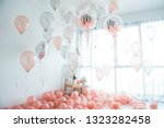 Small photo of balloons in white room with Mr. and Mrs. letter for wedding