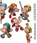 cartoon rock climbing kids clip ... | Shutterstock .eps vector #1323296555