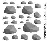 set of gray granite stones of... | Shutterstock .eps vector #1323310052