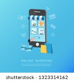 online shopping with smartphone.... | Shutterstock .eps vector #1323314162