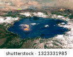 crater lake in the cascade... | Shutterstock . vector #1323331985