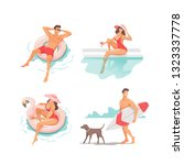 set of people performing summer ... | Shutterstock .eps vector #1323337778